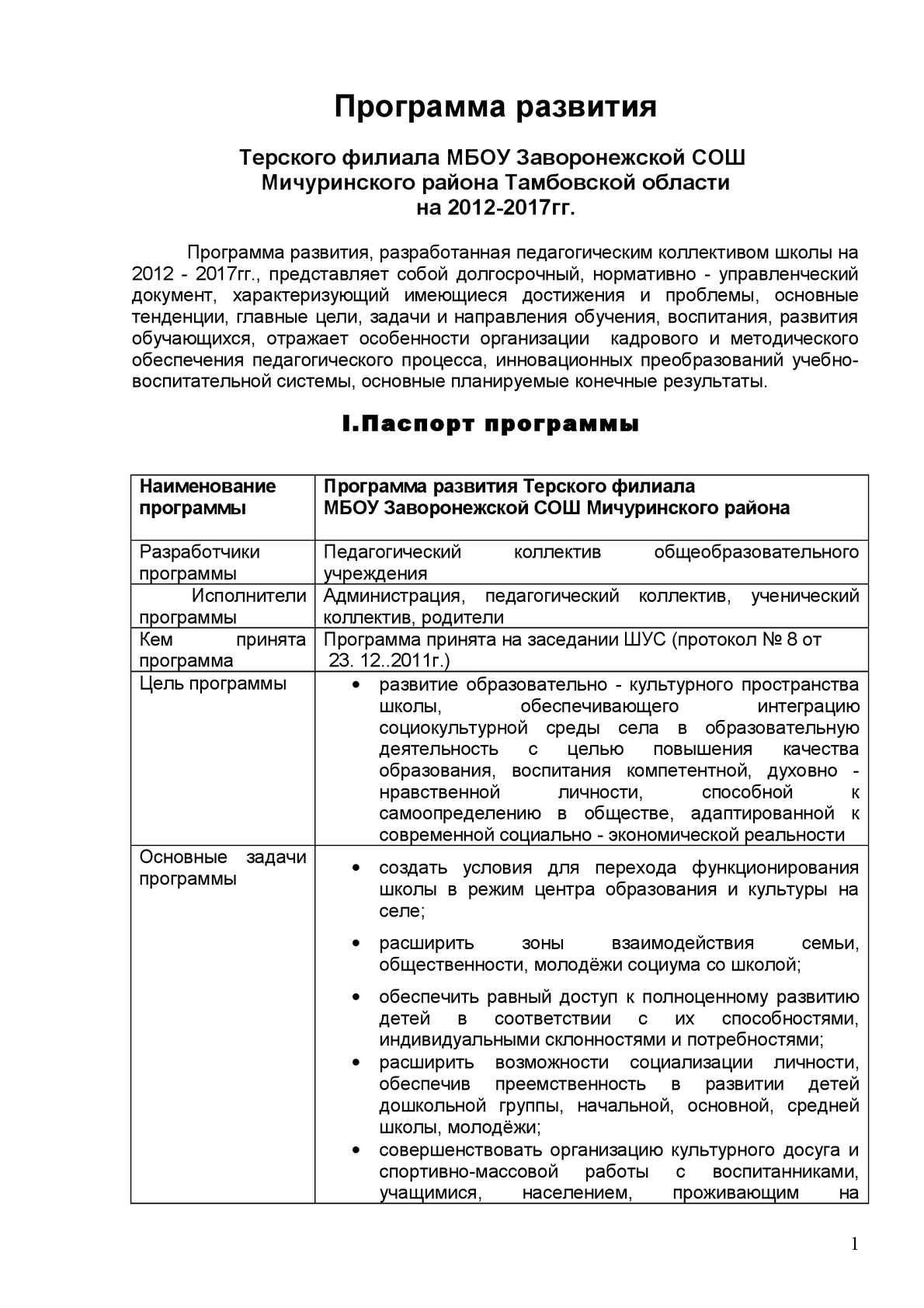 Программа развития школы