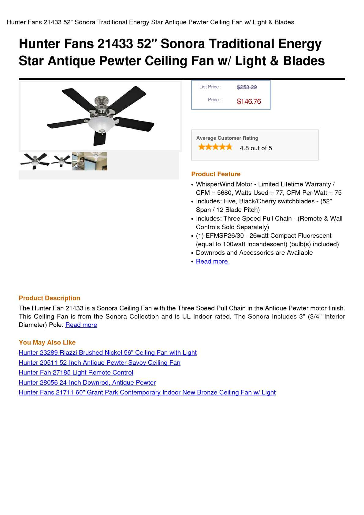 Calameo Hunter Fans 21433 52 Sonora Traditional Energy Star Antique Pewter Ceiling Fan W Light Blades