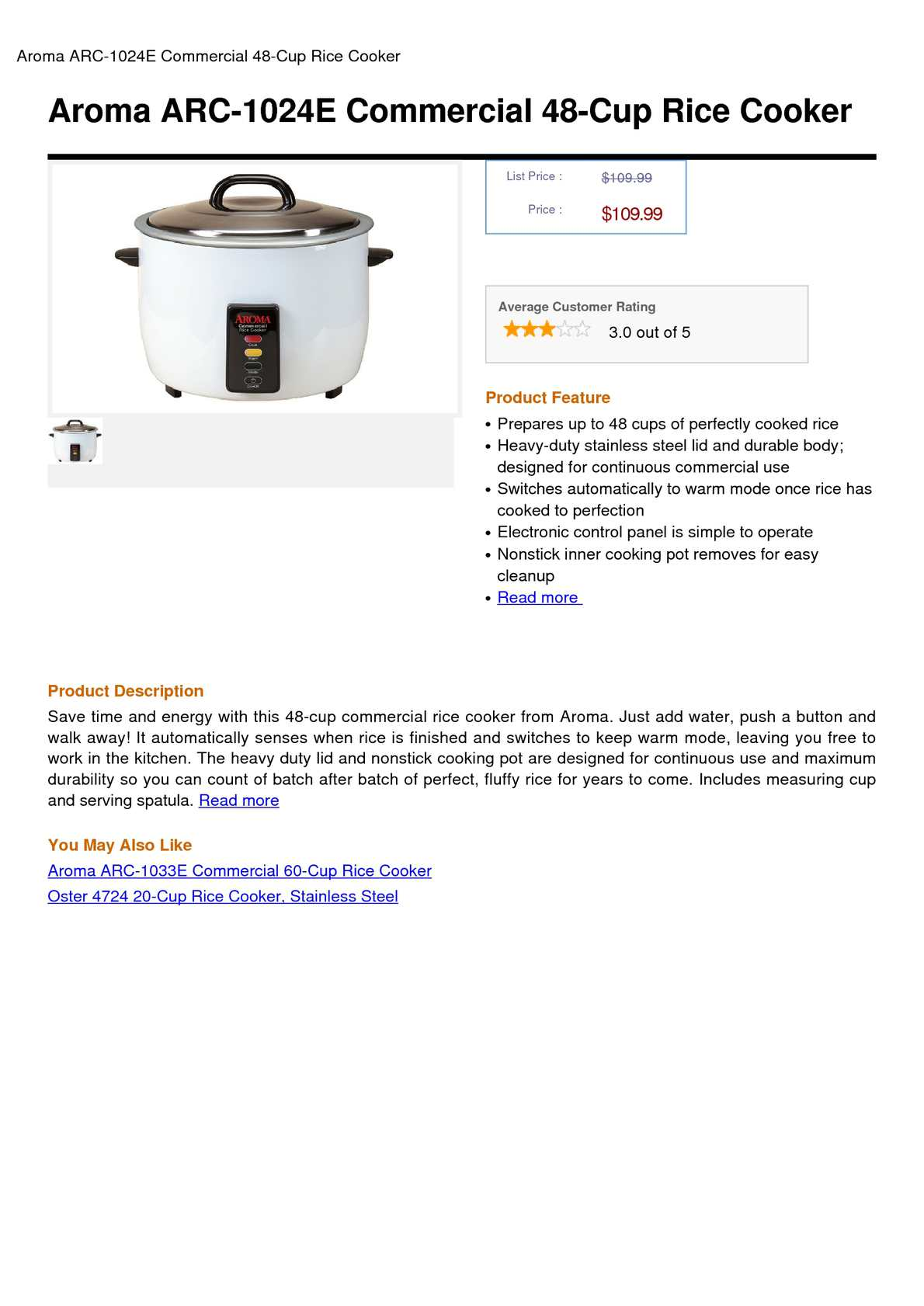 Aroma 60-Cup Commercial Rice Cooker Cooked Stainless Steel