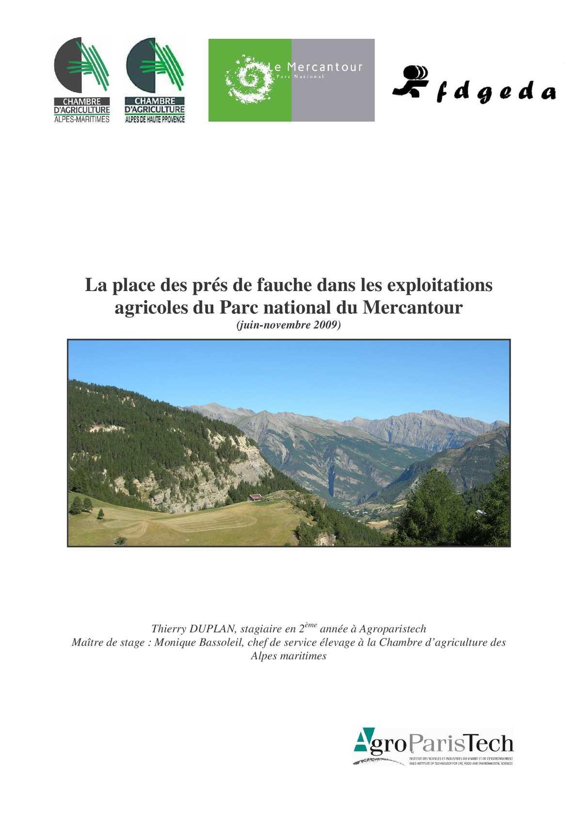 Calam o inventaire des pr s de fauche du mercantour 2009 - Chambre agriculture alpes maritimes ...