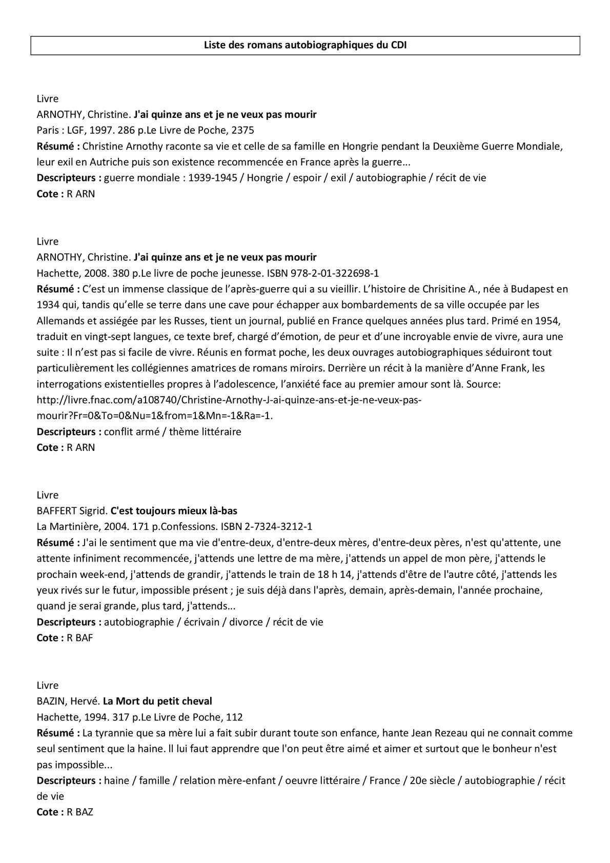Calameo Liste Des Romans Autobiographiques Du College De L Ill