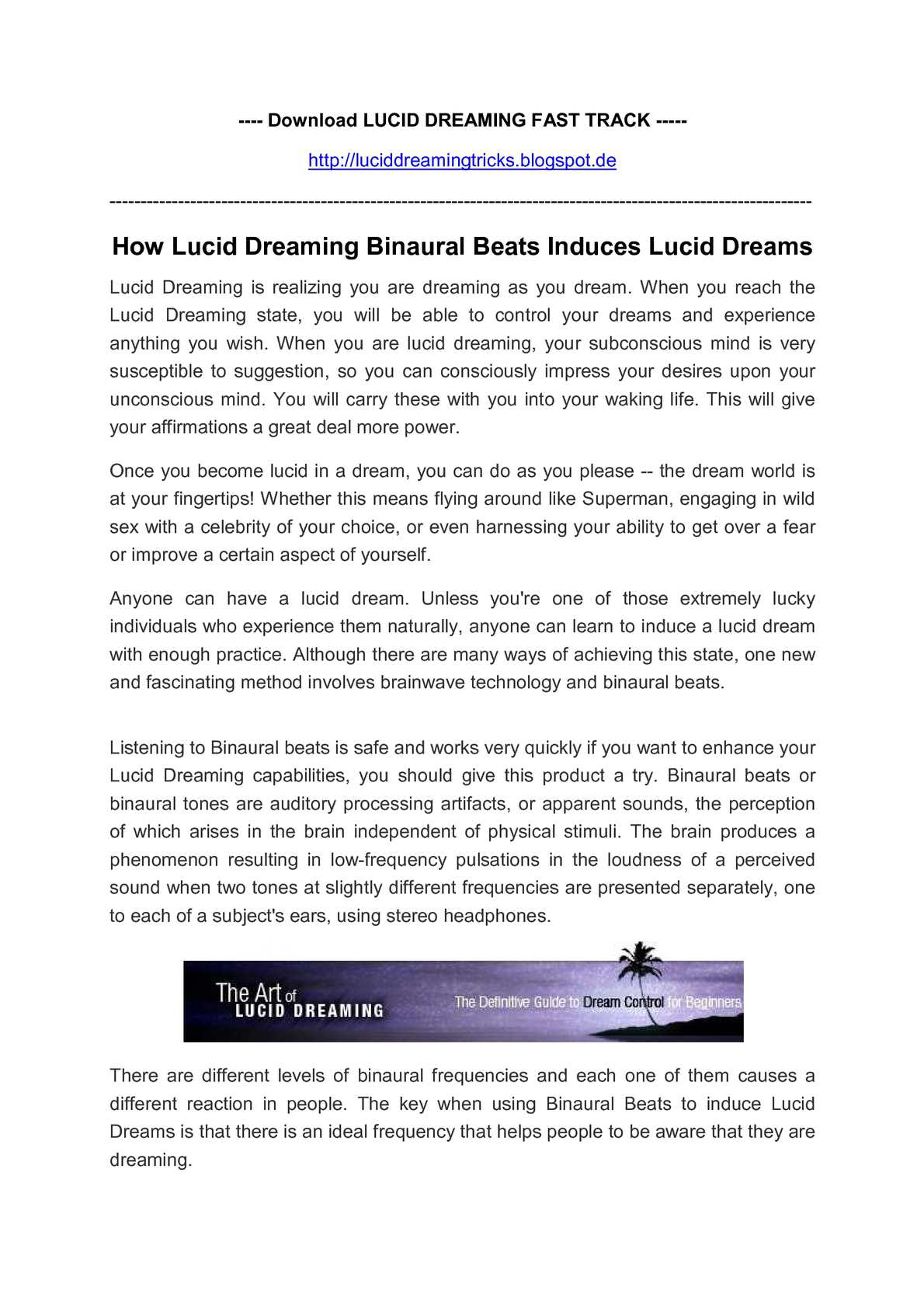 Calaméo - How Lucid Dreaming Binaural Beats Induces Lucid Dreams