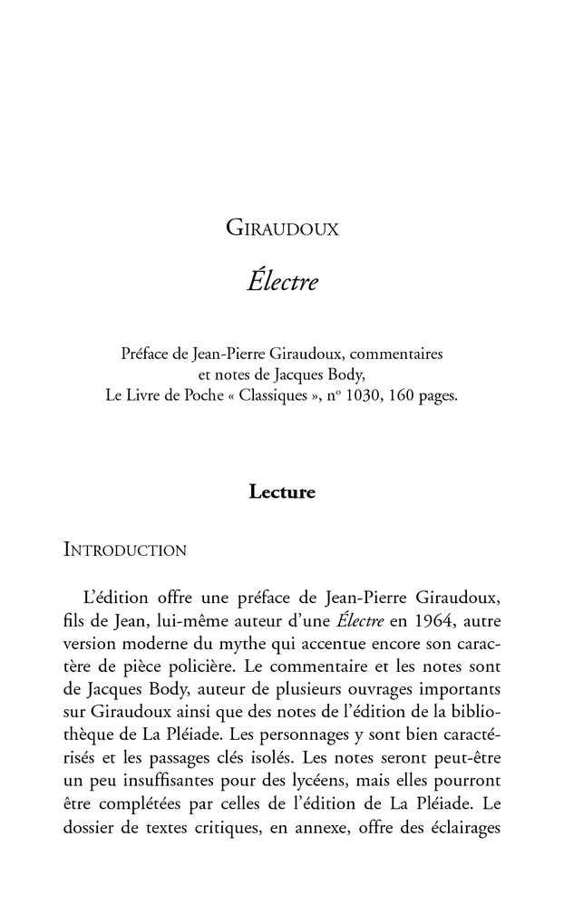 dissertation electre tragedie