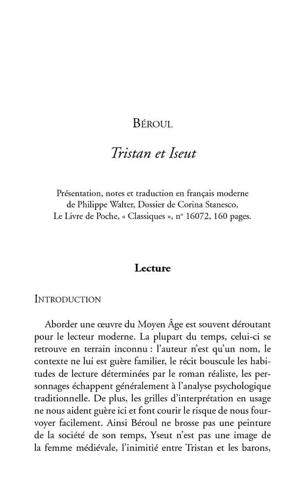 introduction dissertation tristan et iseut
