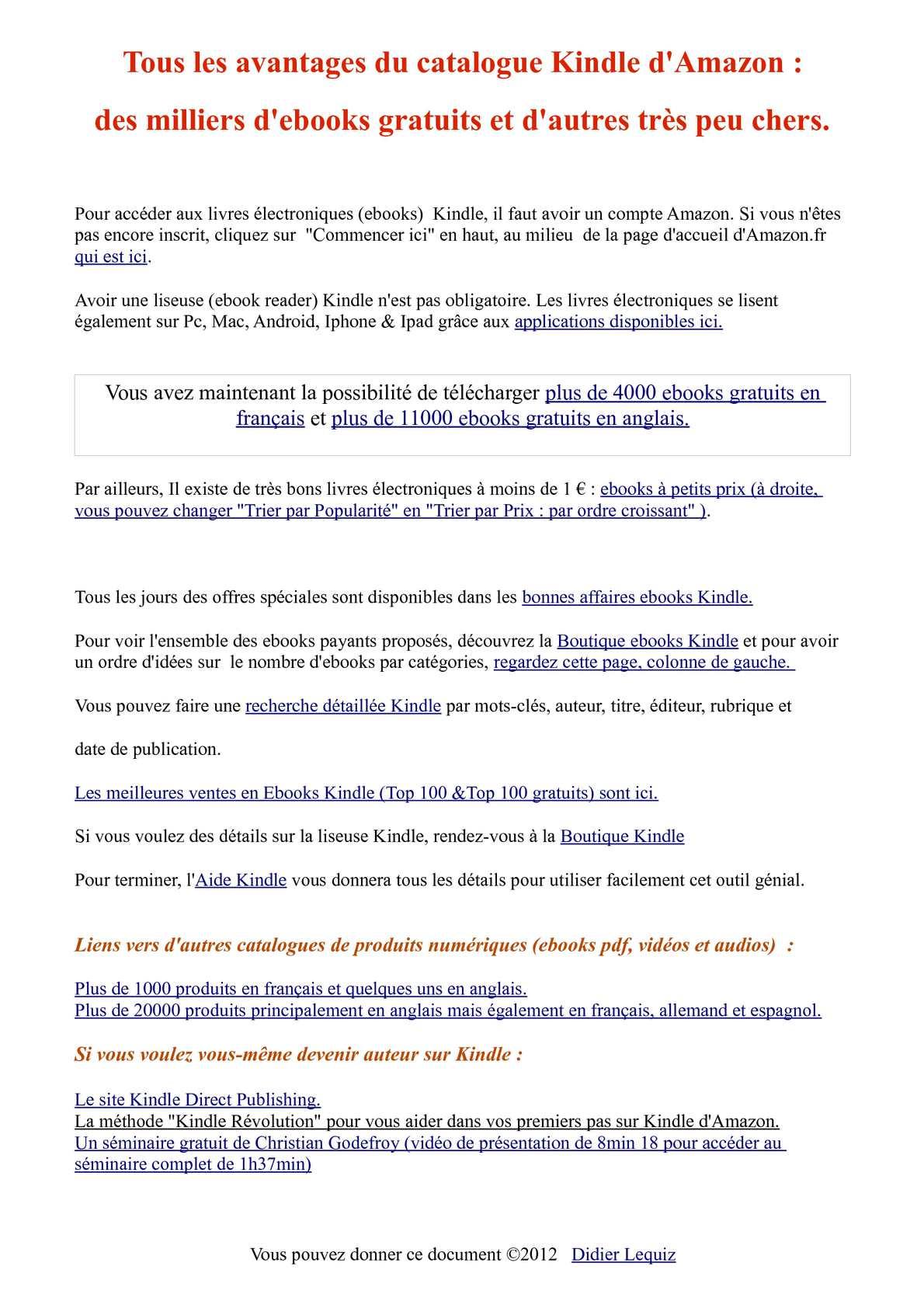 Calameo Kindle Amazon Plus De 4000 Ebooks Gratuits En