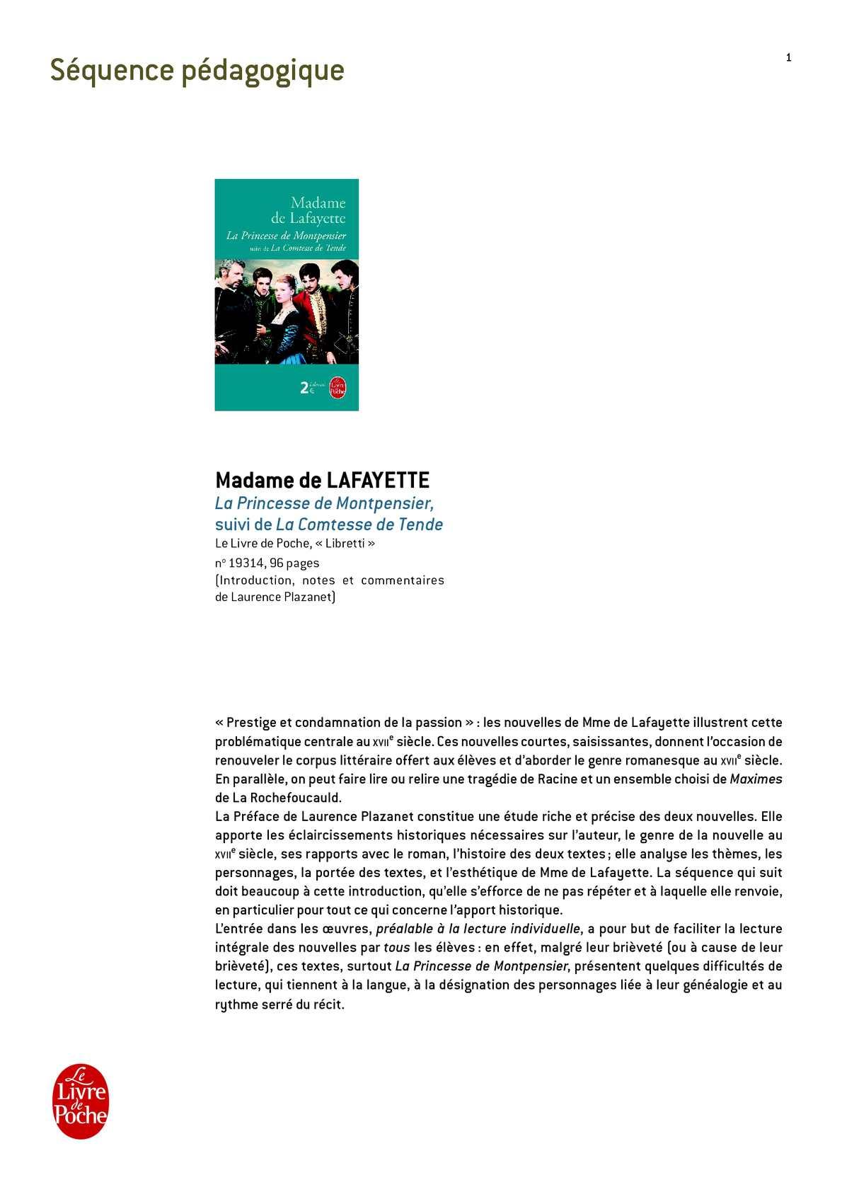 Fiche pédagogique Princesse de Montpensier (La), Madame de La Fayette