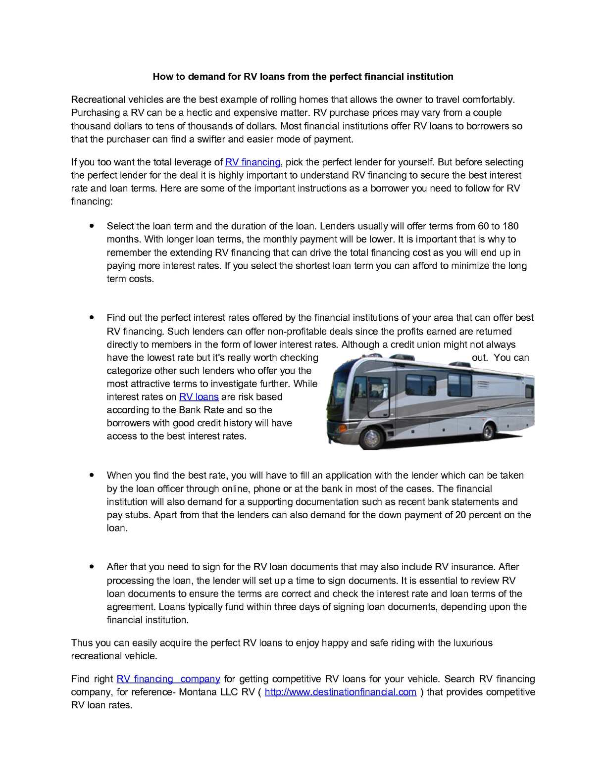 Calaméo - How to demand for RV loans from the perfect financial