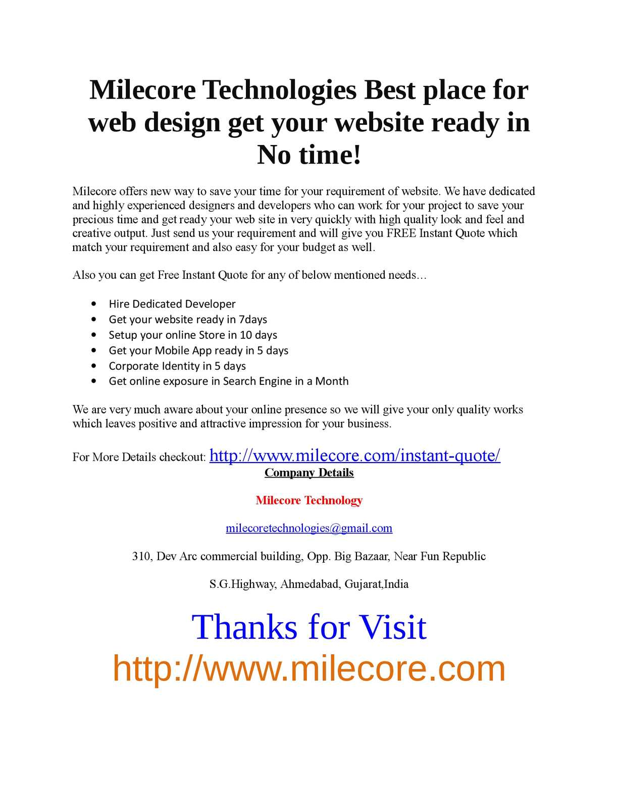 Calameo Milecore Technologies Best Place For Web Design Get Your Website Ready In No Time