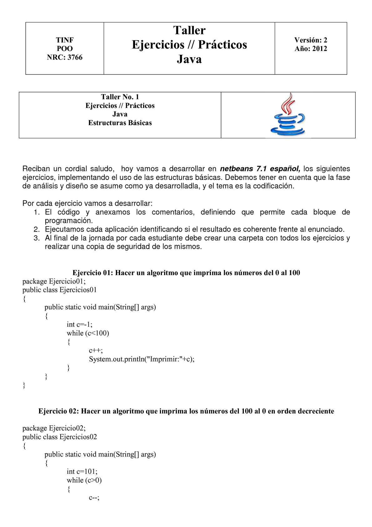 Calaméo Ejercicios Java
