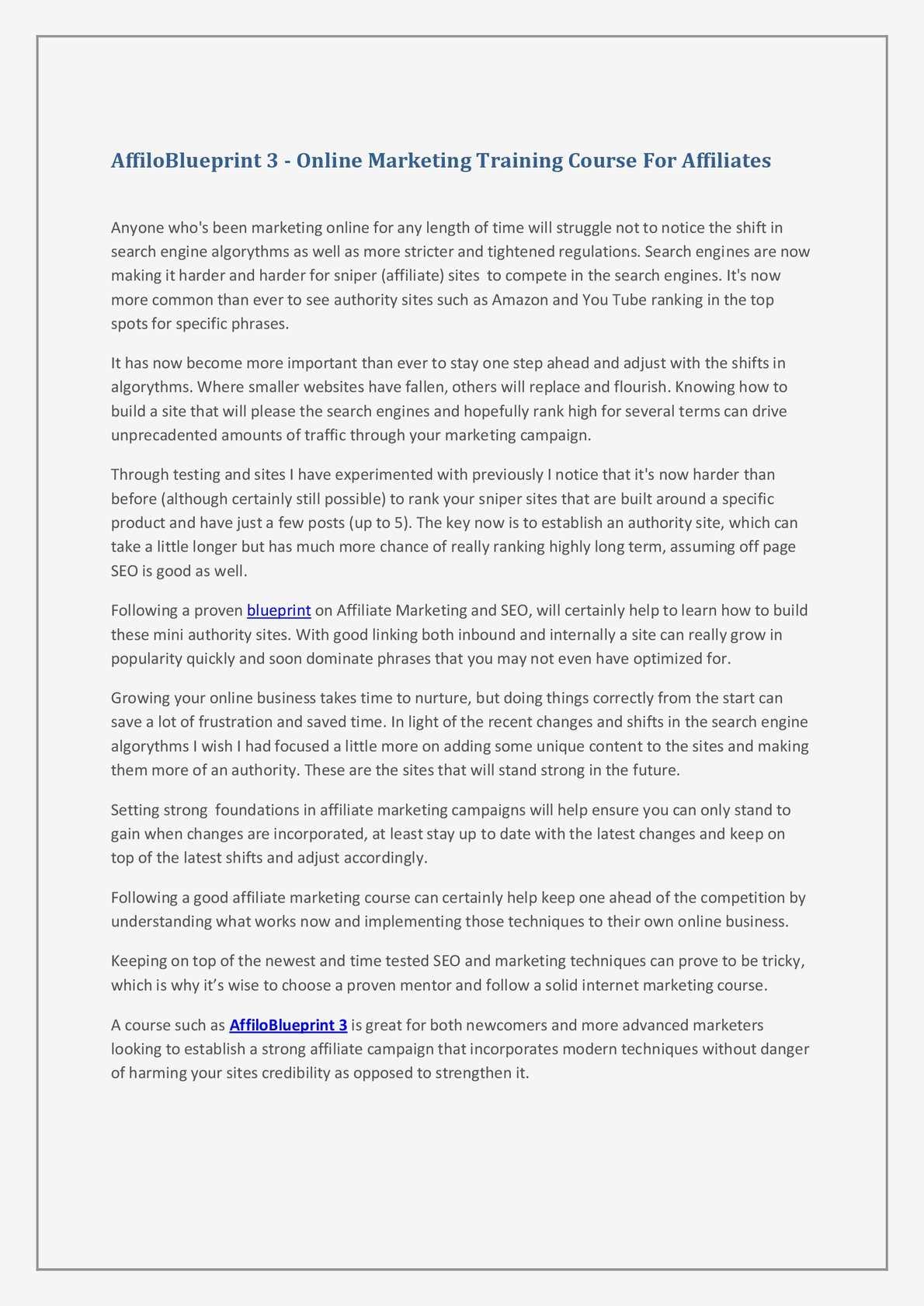 Calaméo - Pre Launch AffiloBlueprint 3 Review