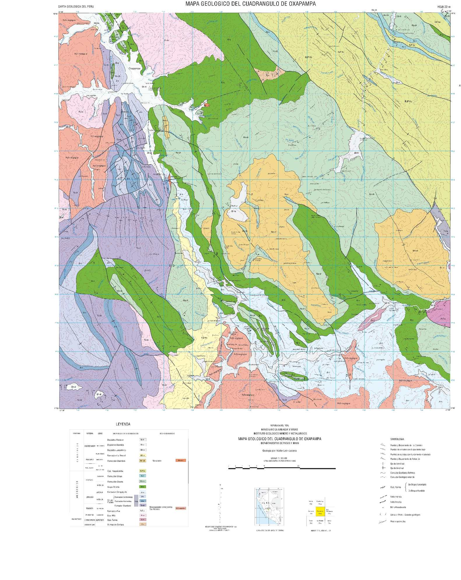 Oxapampa Peru Map.Calameo Mapa Geologico Del Cuadrangulo Oxapampa 22 M