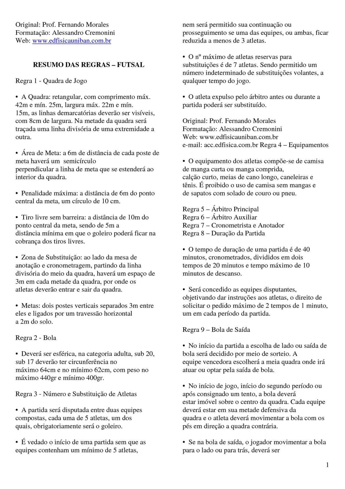 Calaméo - Resumo das Regras Oficiais Do Futsal a932b654f3ddf