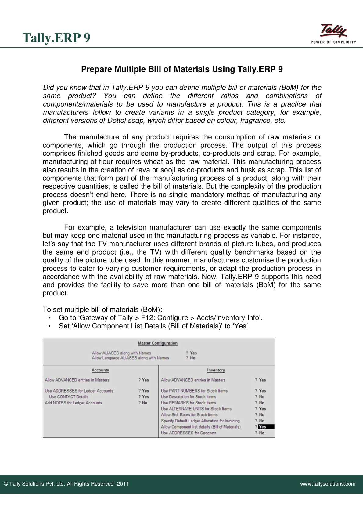 Calaméo - MultipleBillofMaterialsinTally ERP9 | Tally