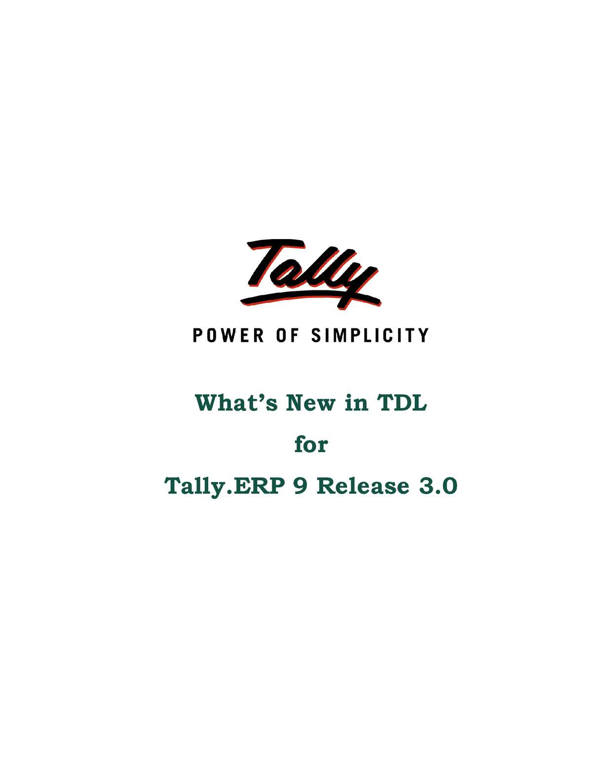 Calaméo - Whats New in TDL | Tally Downloads | Tally Shopper