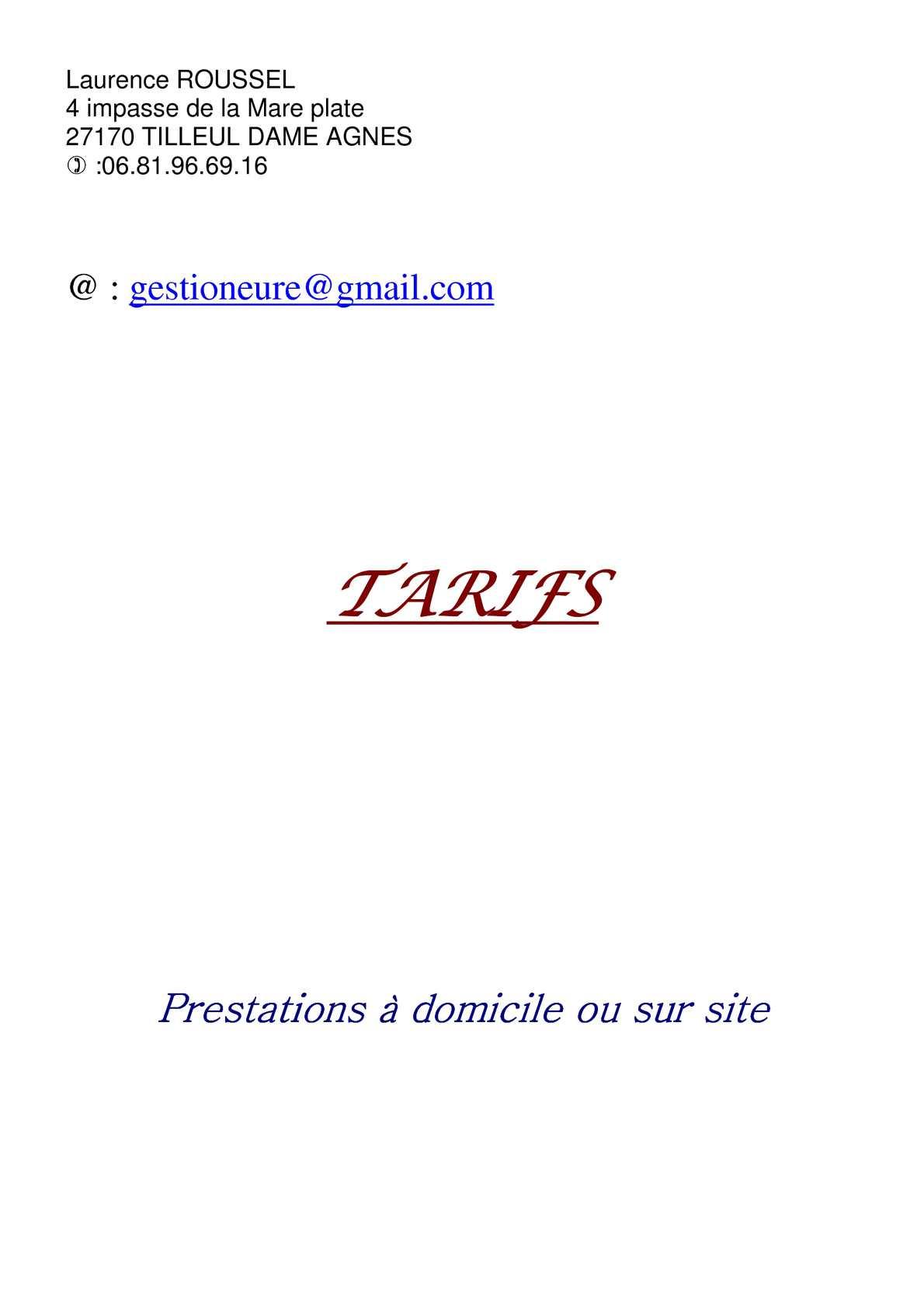 Calaméo - Tarif du gestioneure, secrétaire indépendante ou salariée.