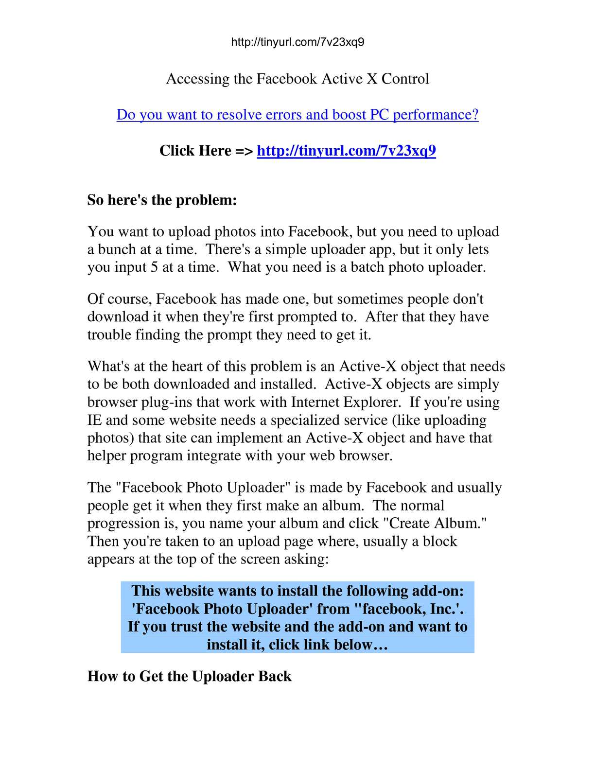Calaméo - Fix PC Problems Fast - Accessing the Facebook Active - X