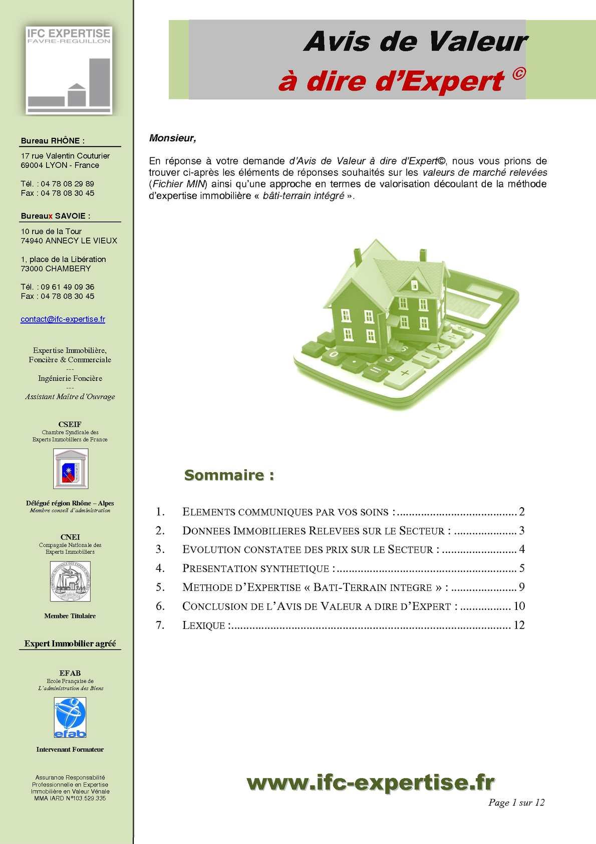 Calam o avis de valeur dire d 39 expert ifc expertise expert immobilier en valeur v nale annecy - Chambre des experts immobiliers ...