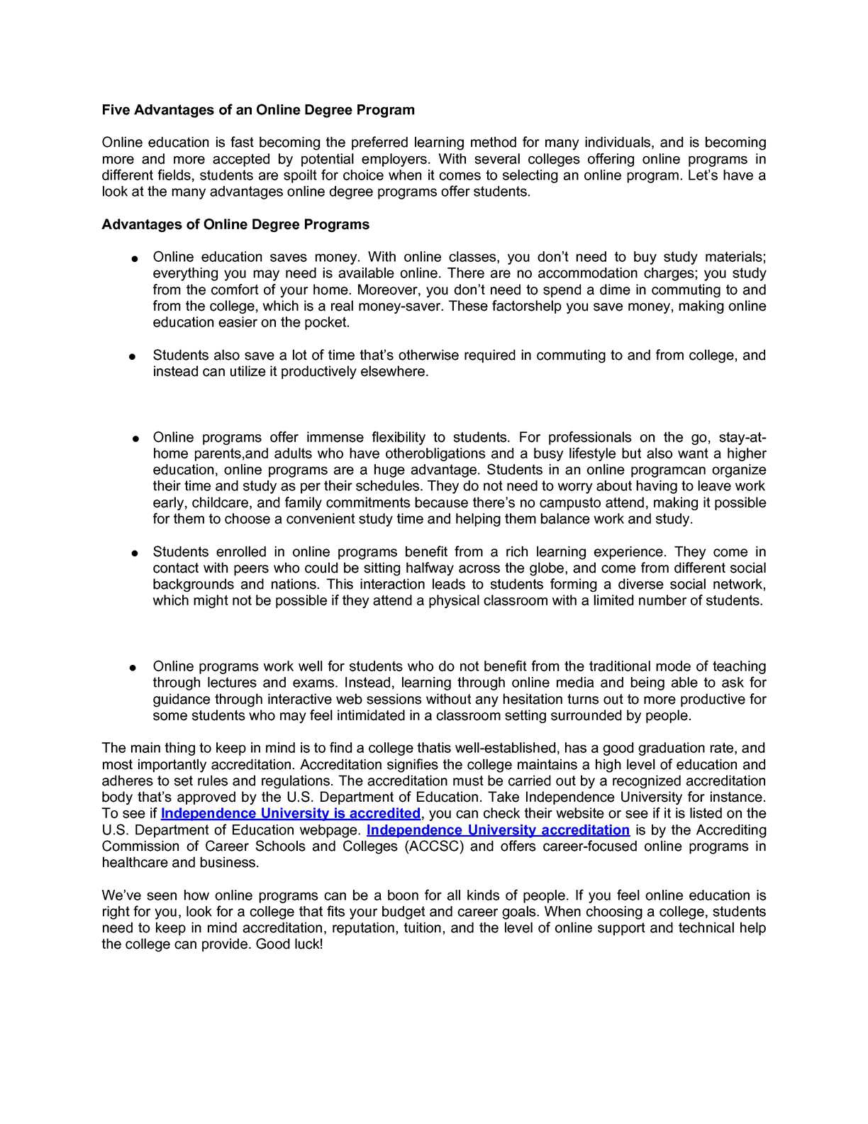 Calaméo - Five Advantages of an Online Degree Program