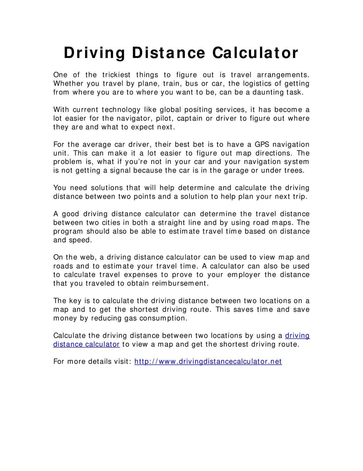 Calaméo - Driving Distance Calculator
