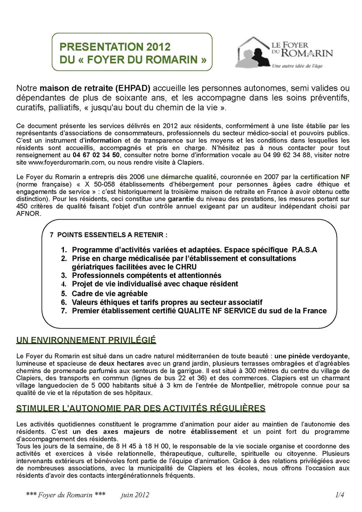 Calaméo Présentation Des Prestations Du Foyer Du Romarin Ehpad