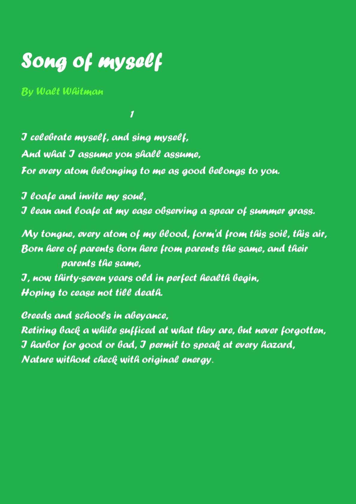 Calameo Song Of Myself By Walt Whitman I Celebrate And Sing Analysis Analysi