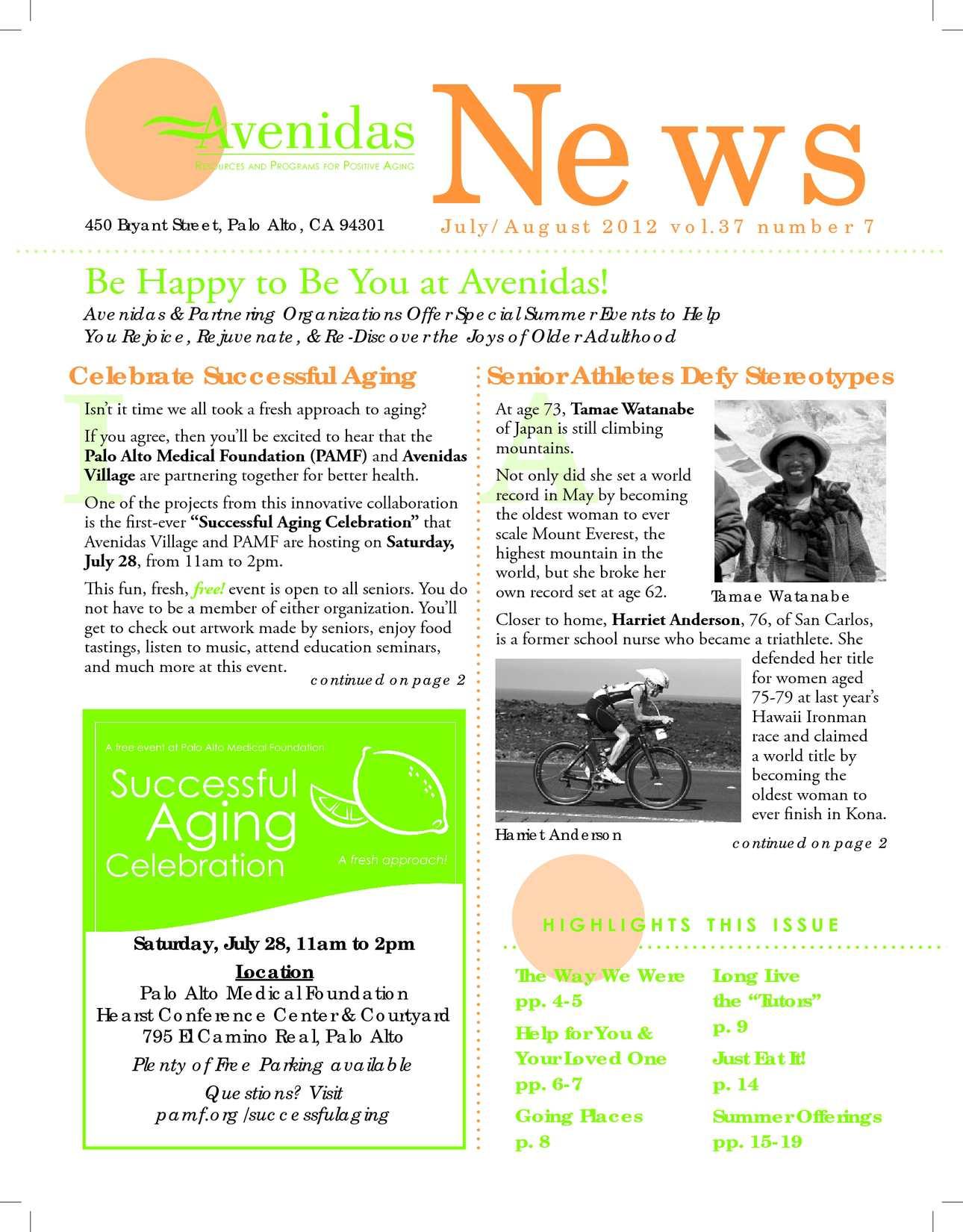 Calaméo - Avenidas Newsletter for July-August 2012