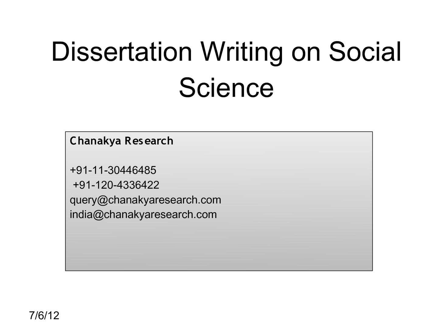 Dissertation scholarships social sciences