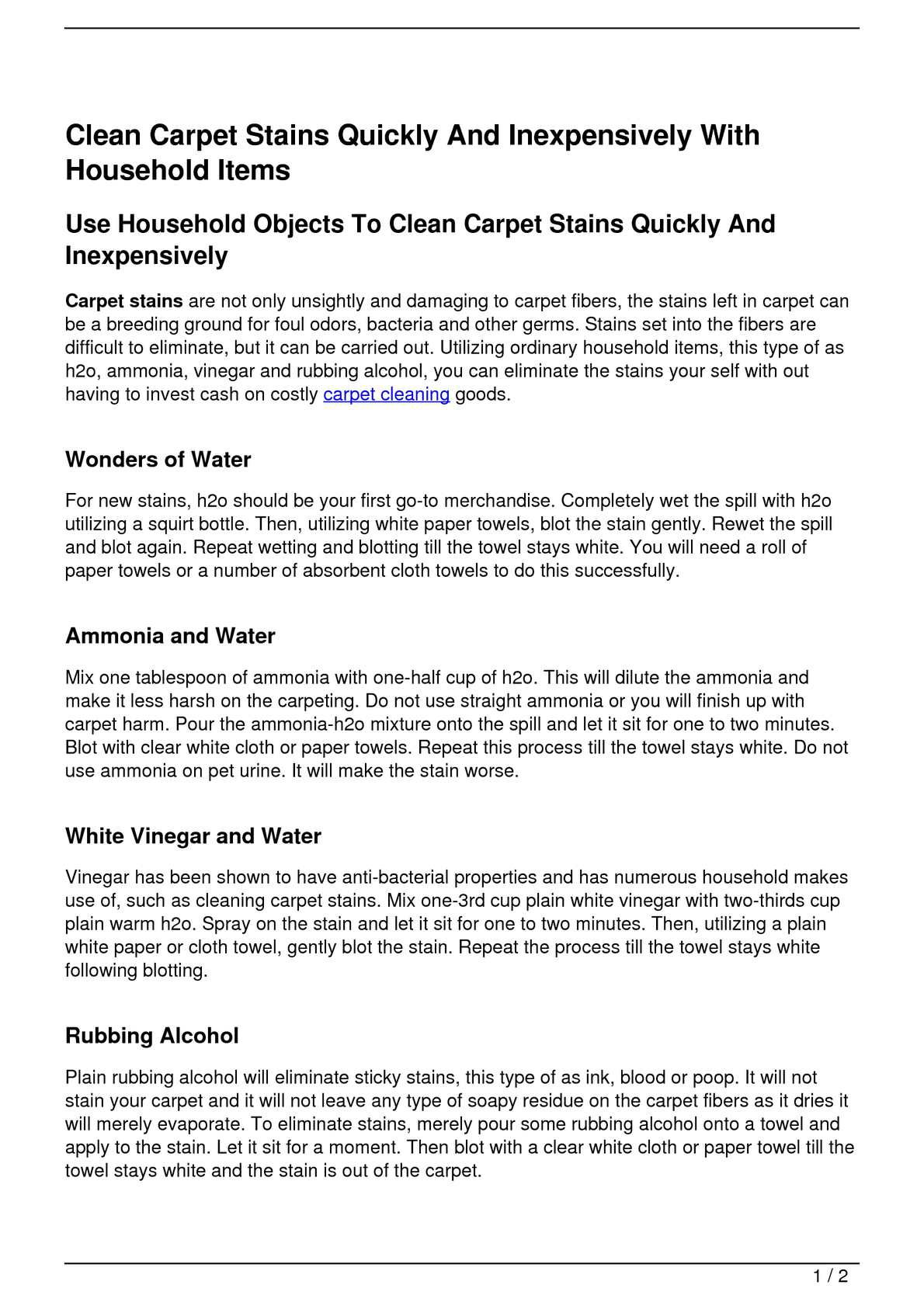Calaméo - Clean Carpet Stains Quickly And Inexpensively With