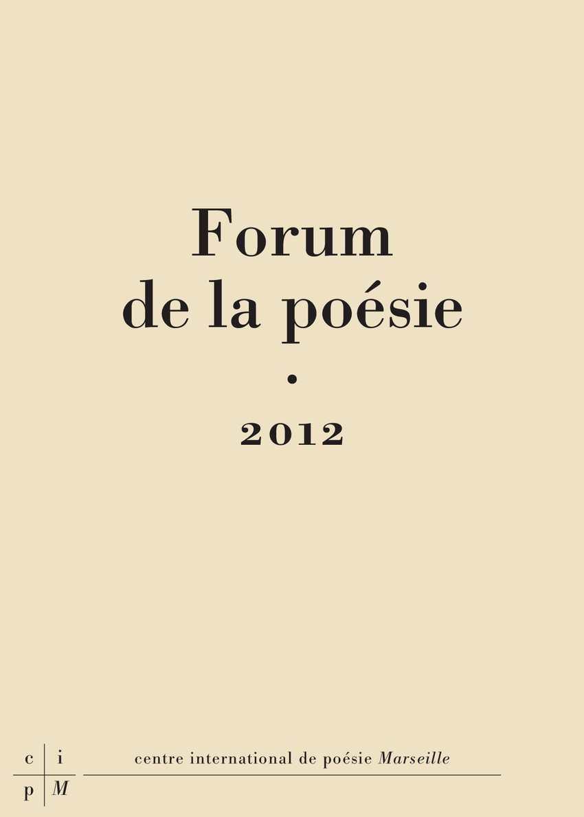 Calaméo Forum De La Poésie 2012