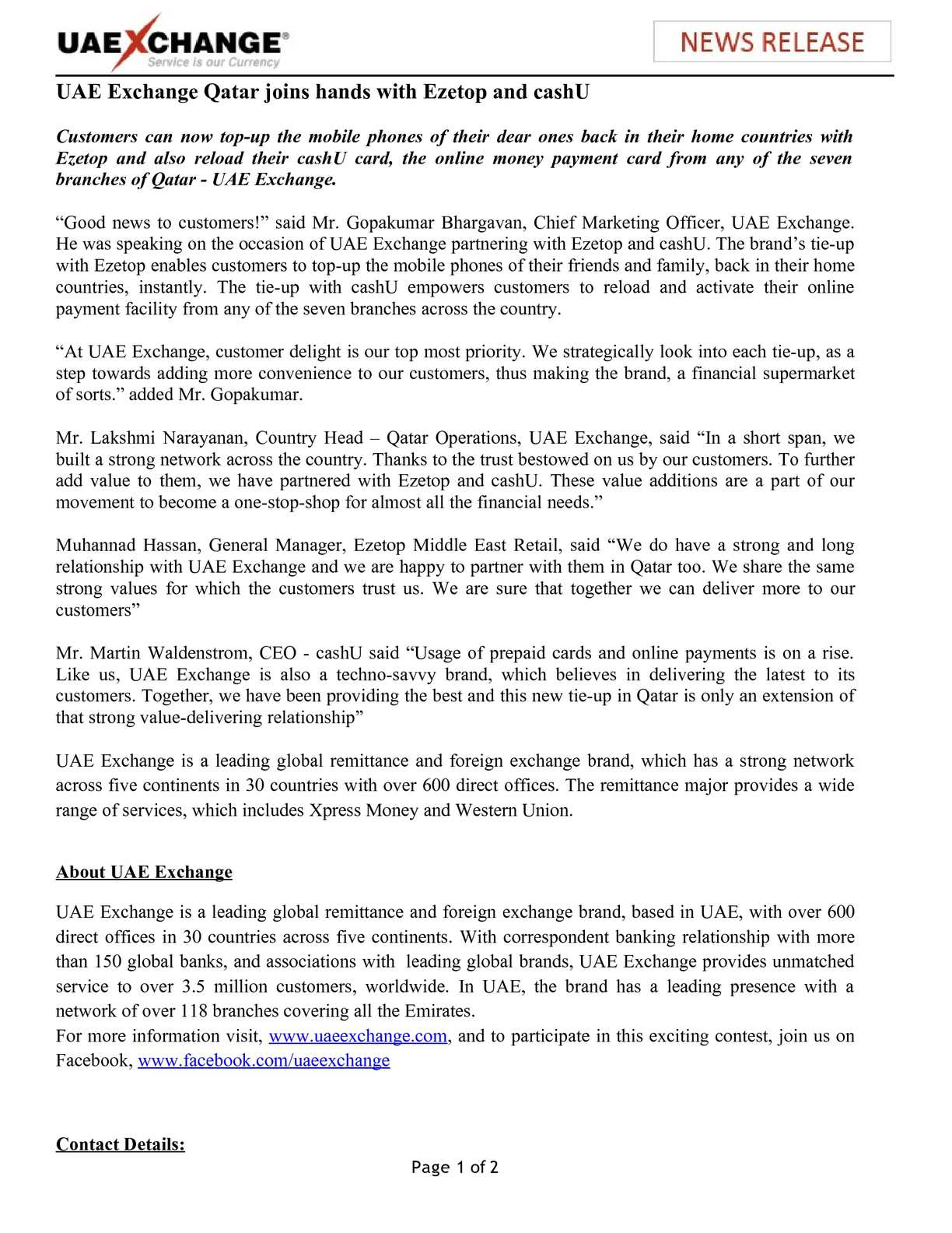 Calaméo - UAE Exchange Qatar joins hands with Ezetop and cashU