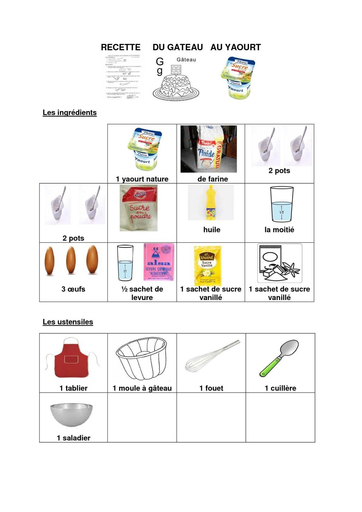 calam o recette g teau au yaourt avec pictos. Black Bedroom Furniture Sets. Home Design Ideas
