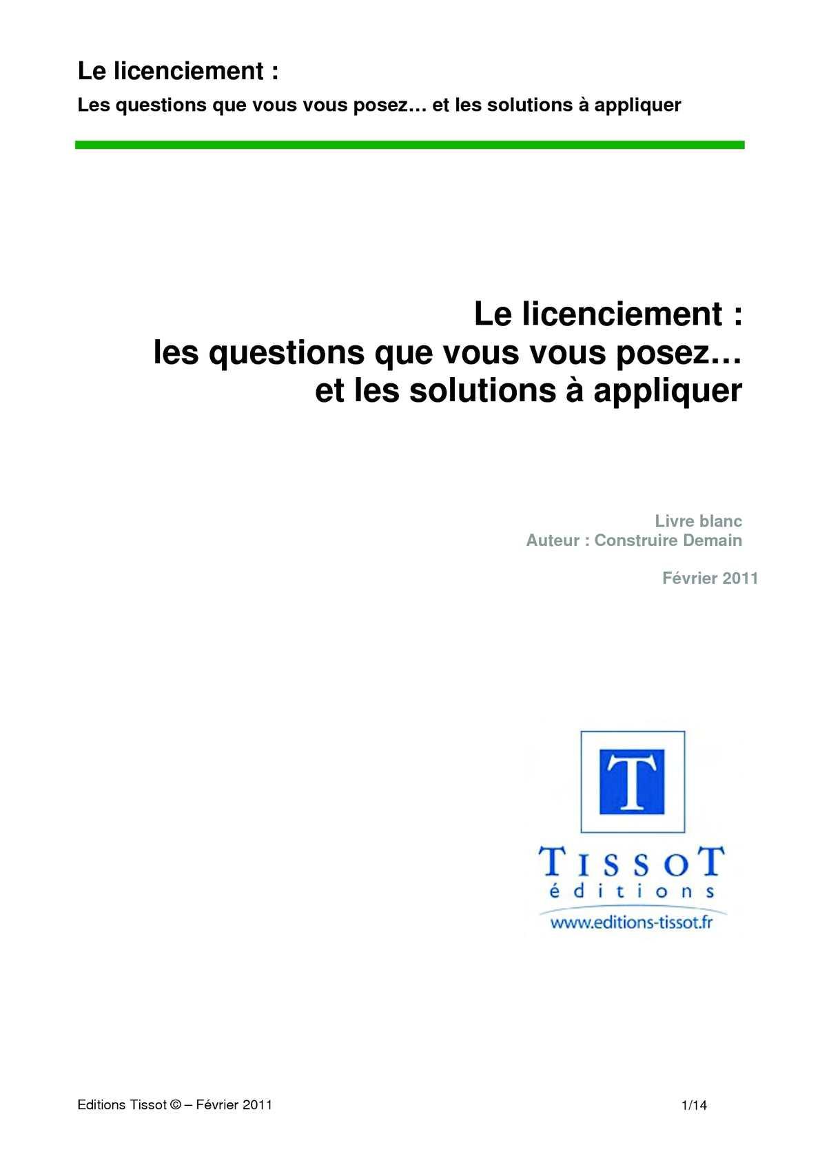 Calameo Licenciement Questions Reponses Editions Tissot