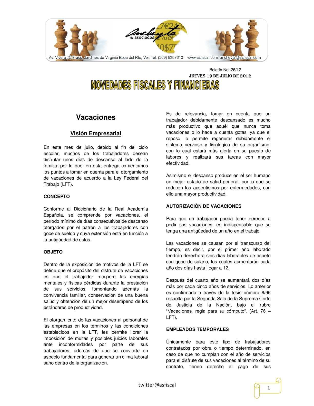 Calameo Boletin 26 12 Novedades Fiscales Y Financieras