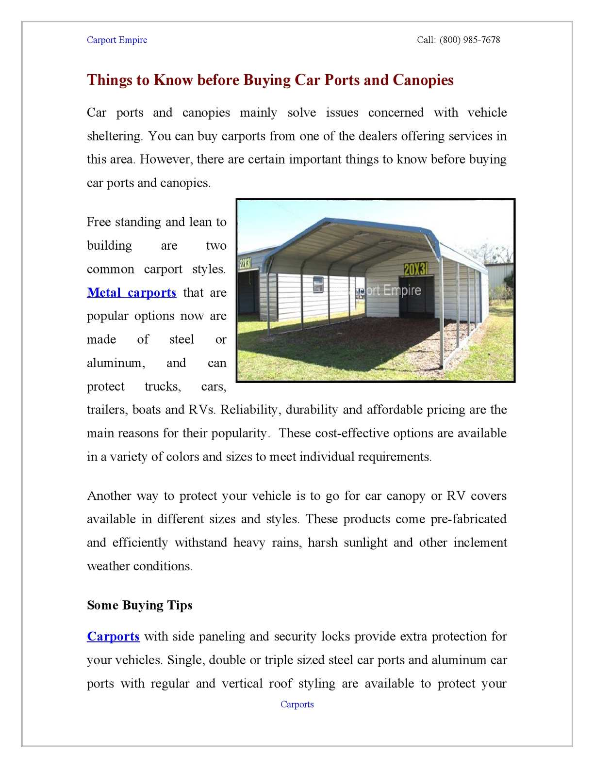 Calameo Things To Know Before Buying Car Ports And Canopies