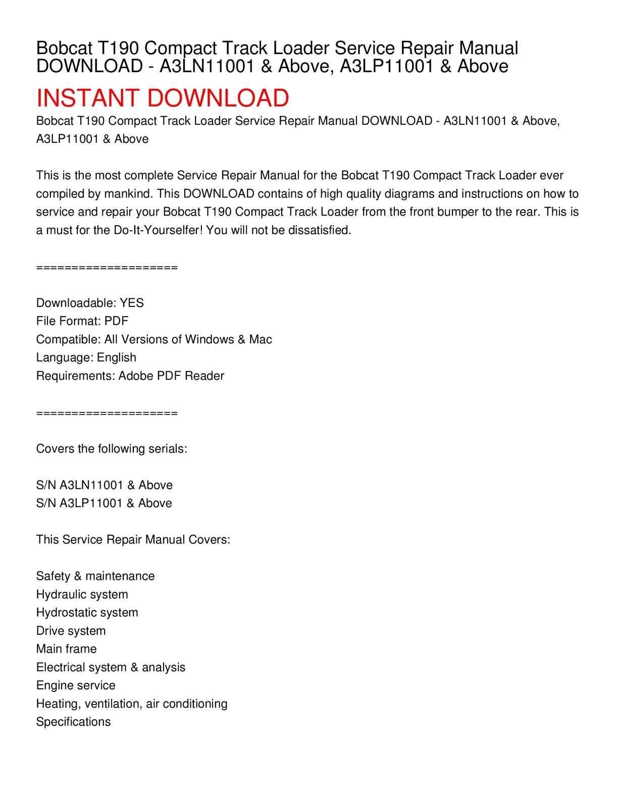 bobcat t190 compact track loader service repair manual download - a3ln11001  & above, a3lp11001 & above