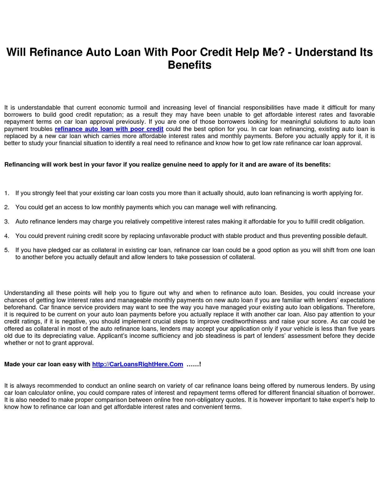 Refinance Car Loan With Bad Credit >> Calameo Refinance Auto Loan With Poor Credit