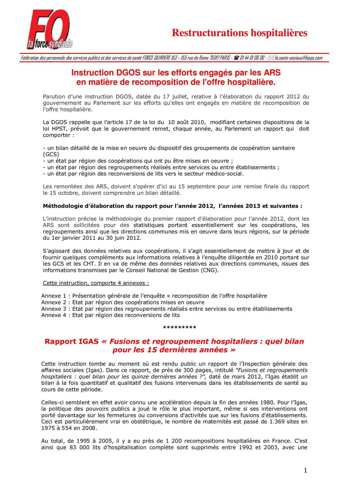 c91636c7cad28d Calaméo - Rapport 2012 du gouvernement au Parlement sur les efforts  qu elles ont engagés en matière de recomposition de l offre hospitalière.