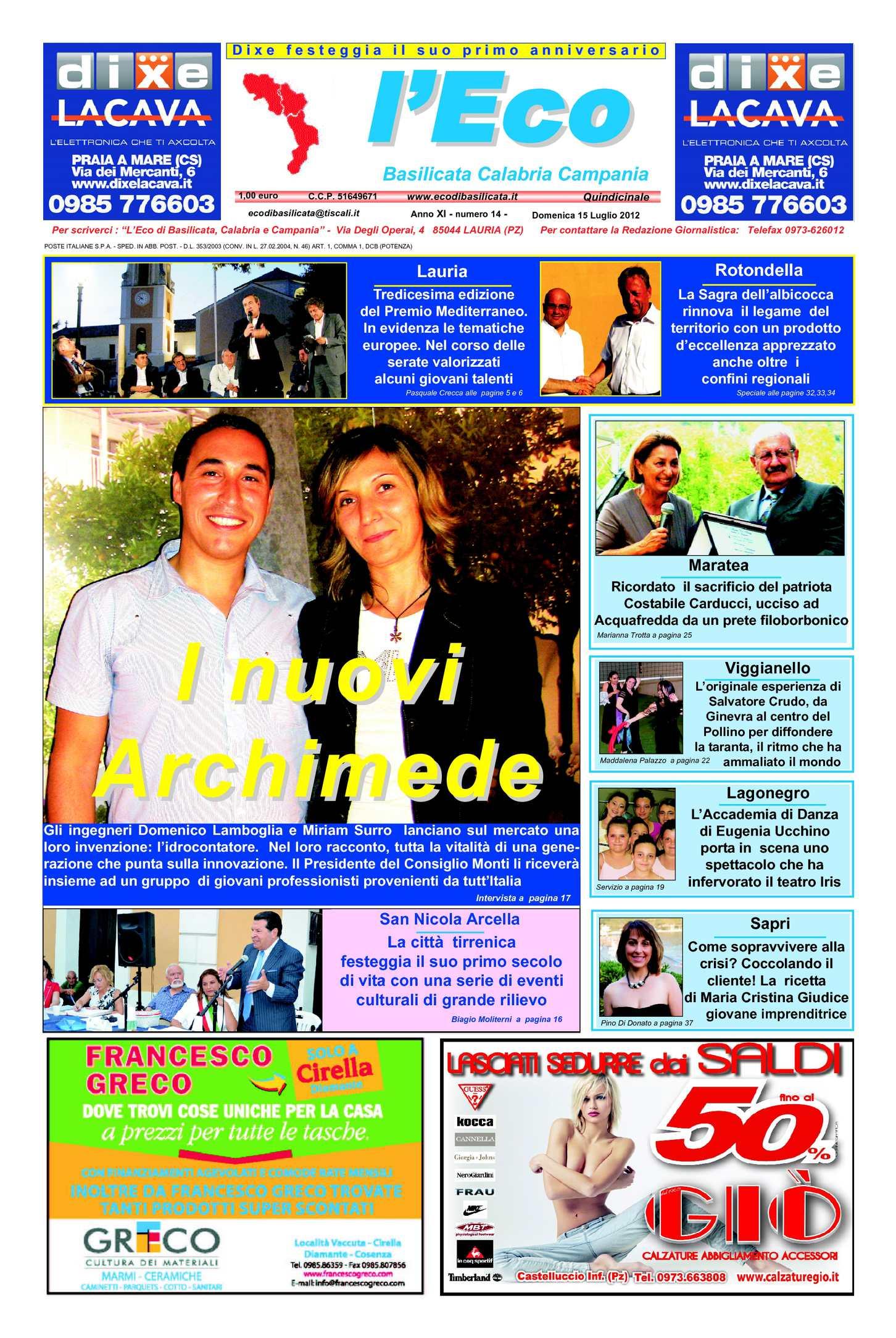 Calaméo - l Eco anno XI n.14 – 15 07 2012 6341399ce13b