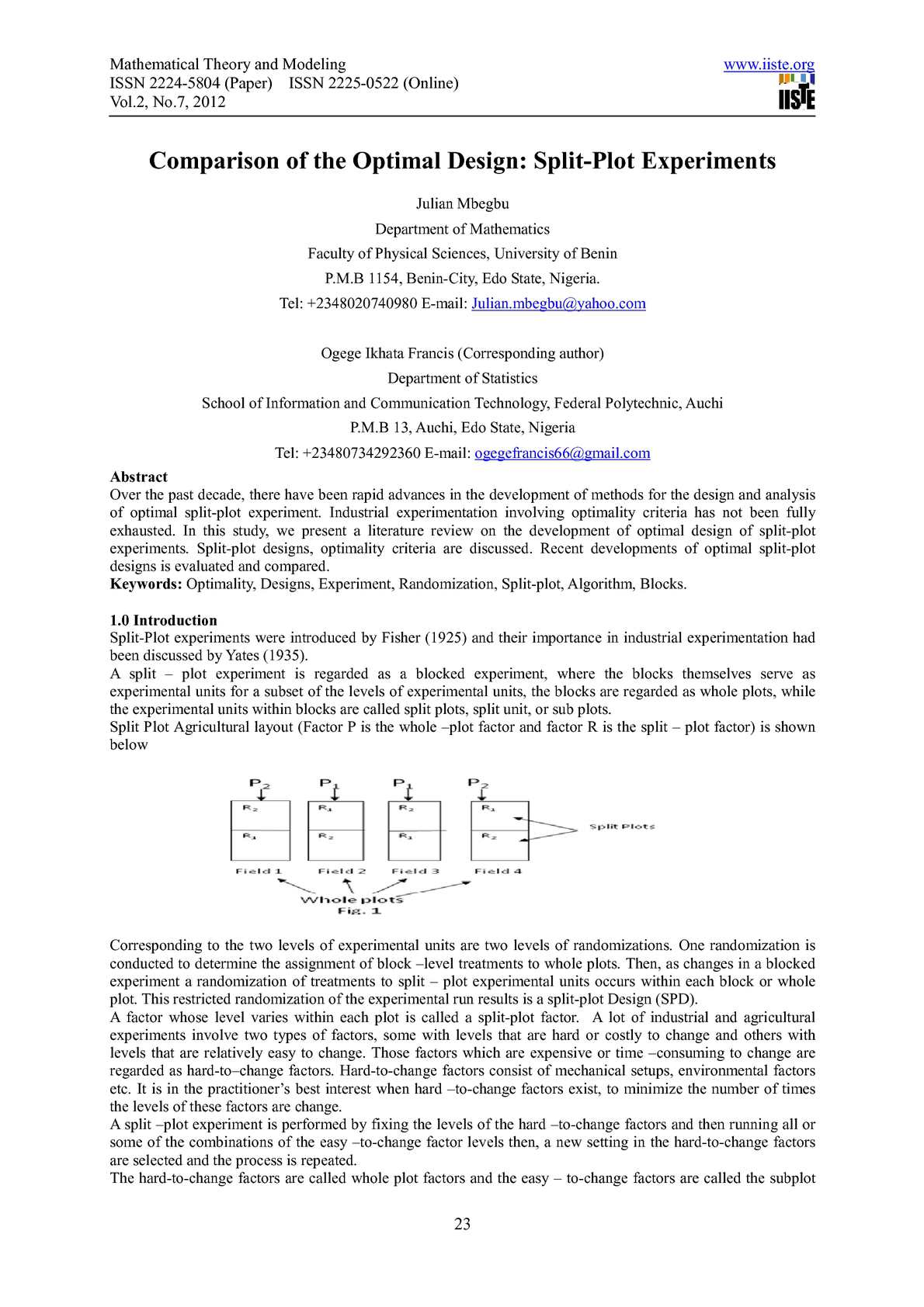 Calaméo - Comparison of the Optimal Design