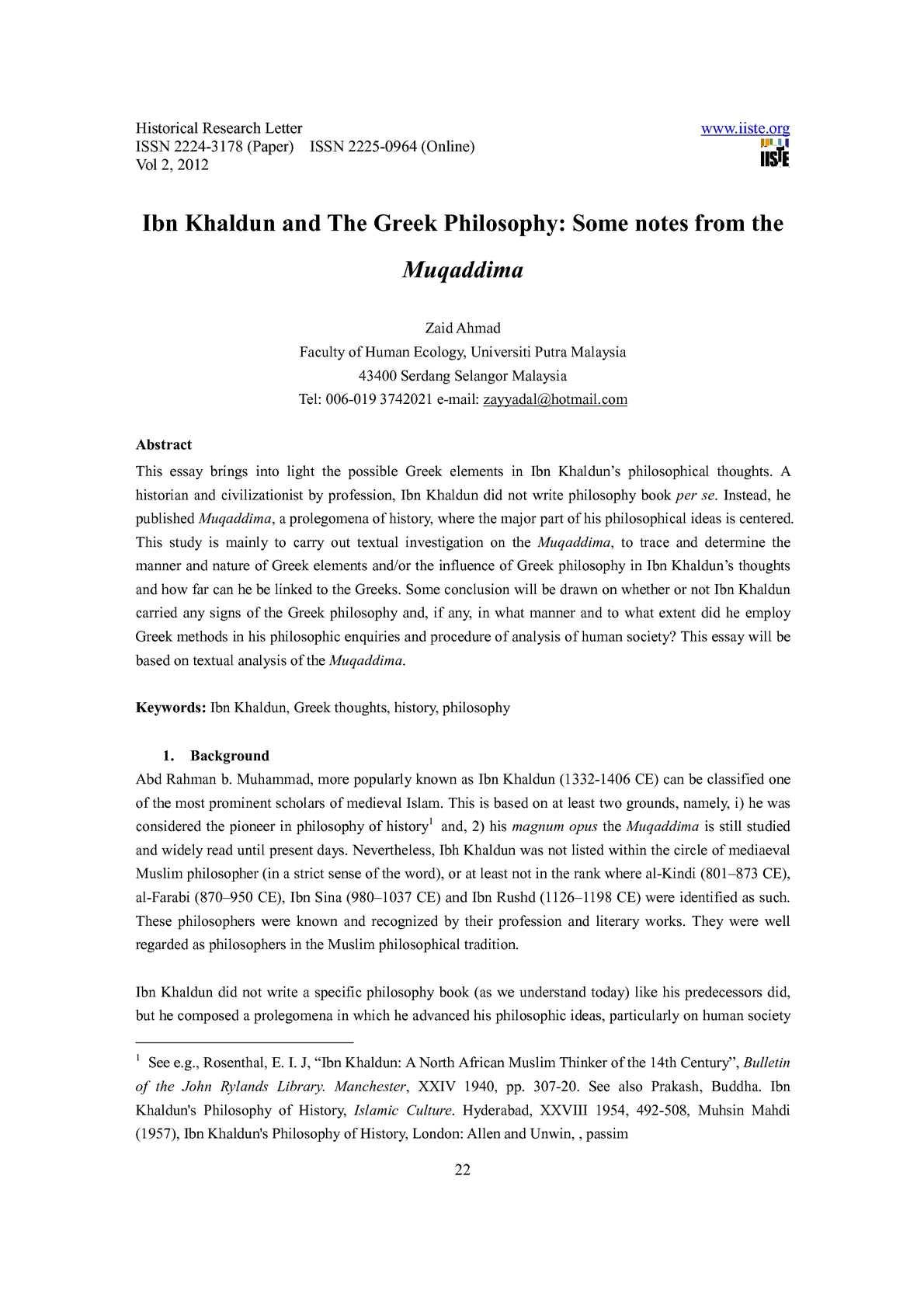 Pdf Ibn Khaldun S Influence On Current International Relations Theory