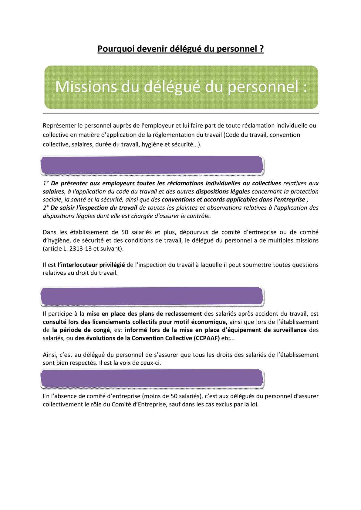 Calameo Missions Du Delegue Du Personnel