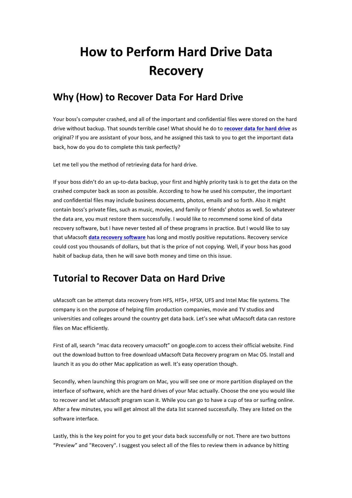 umacsoft data recovery