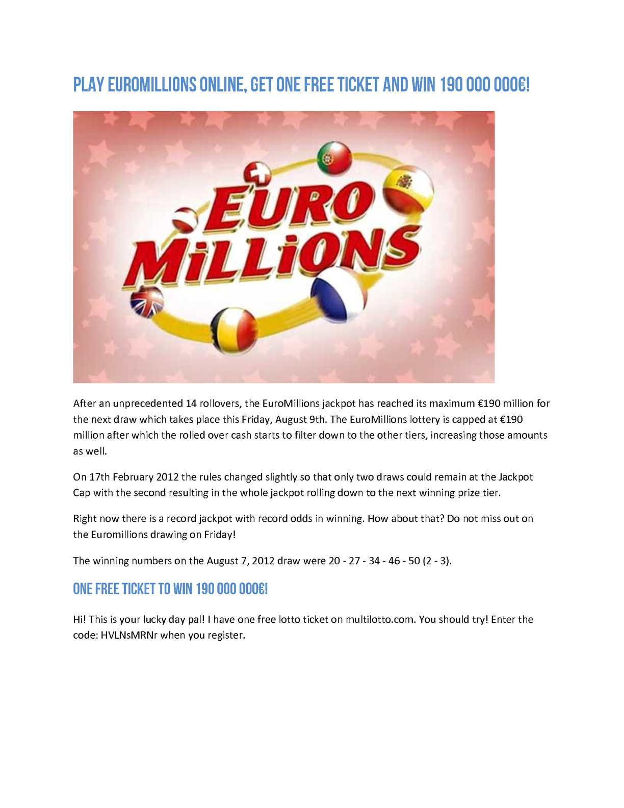 Calaméo - Play EuroMillions Online, Get One Free Ticket And Win 190