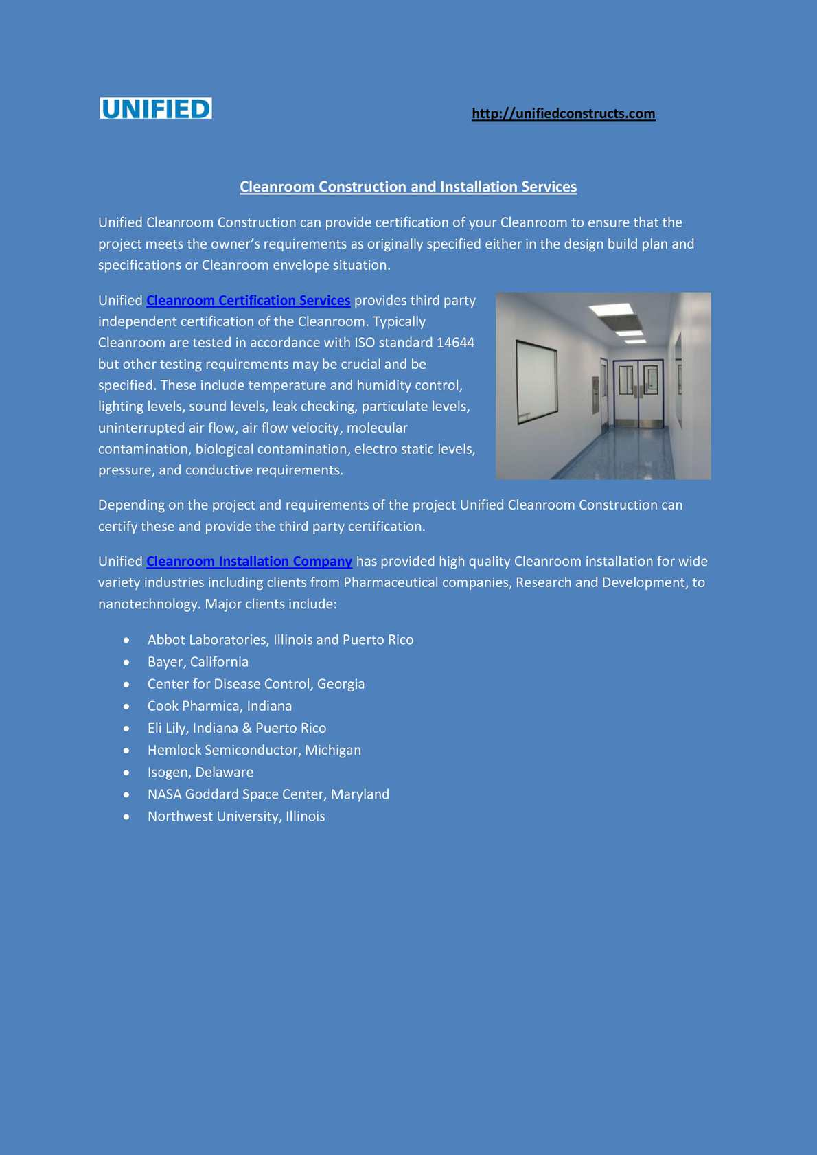 Calameo Cleanroom Certification Construction And