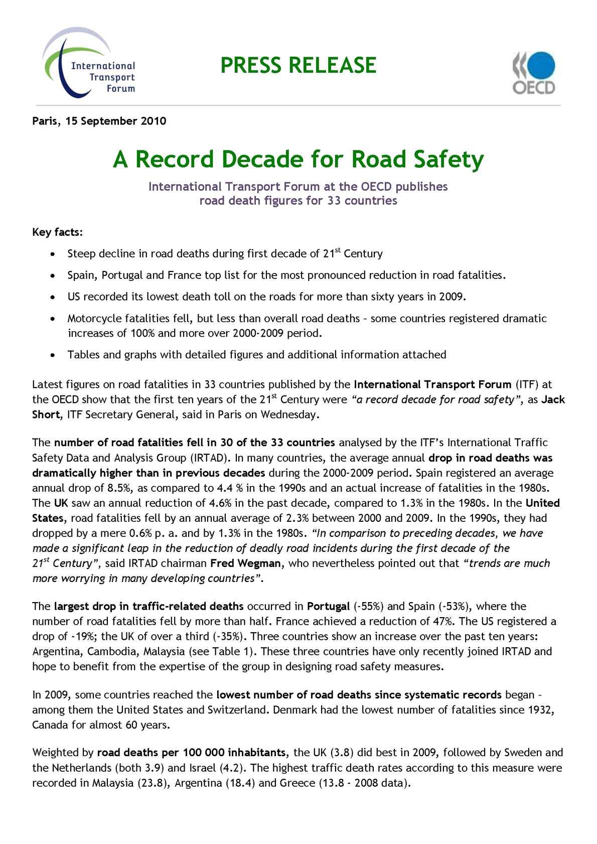 Calaméo - IRTAD Press Release 2010-09-15