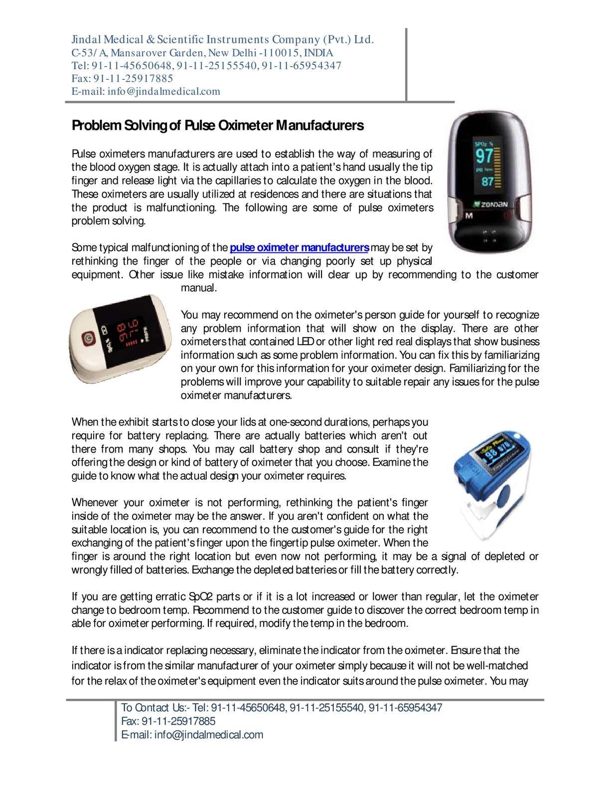 Calaméo - Pulse Oximeter Manufacturers - Scientific