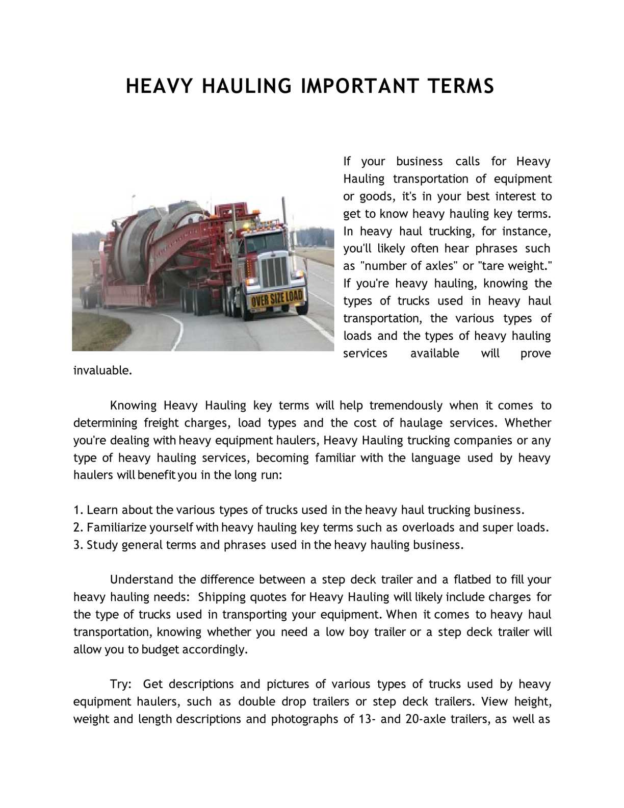 Calaméo - HEAVY HAULING IMPORTANT TERMS