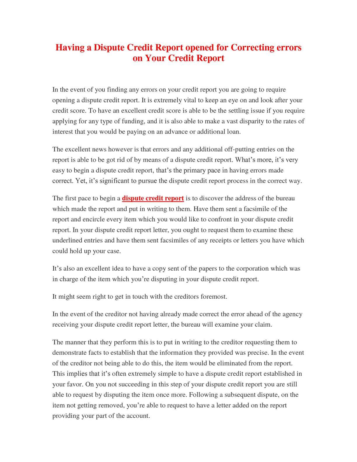Credit Report Dispute >> Calameo Having A Dispute Credit Report Opened For