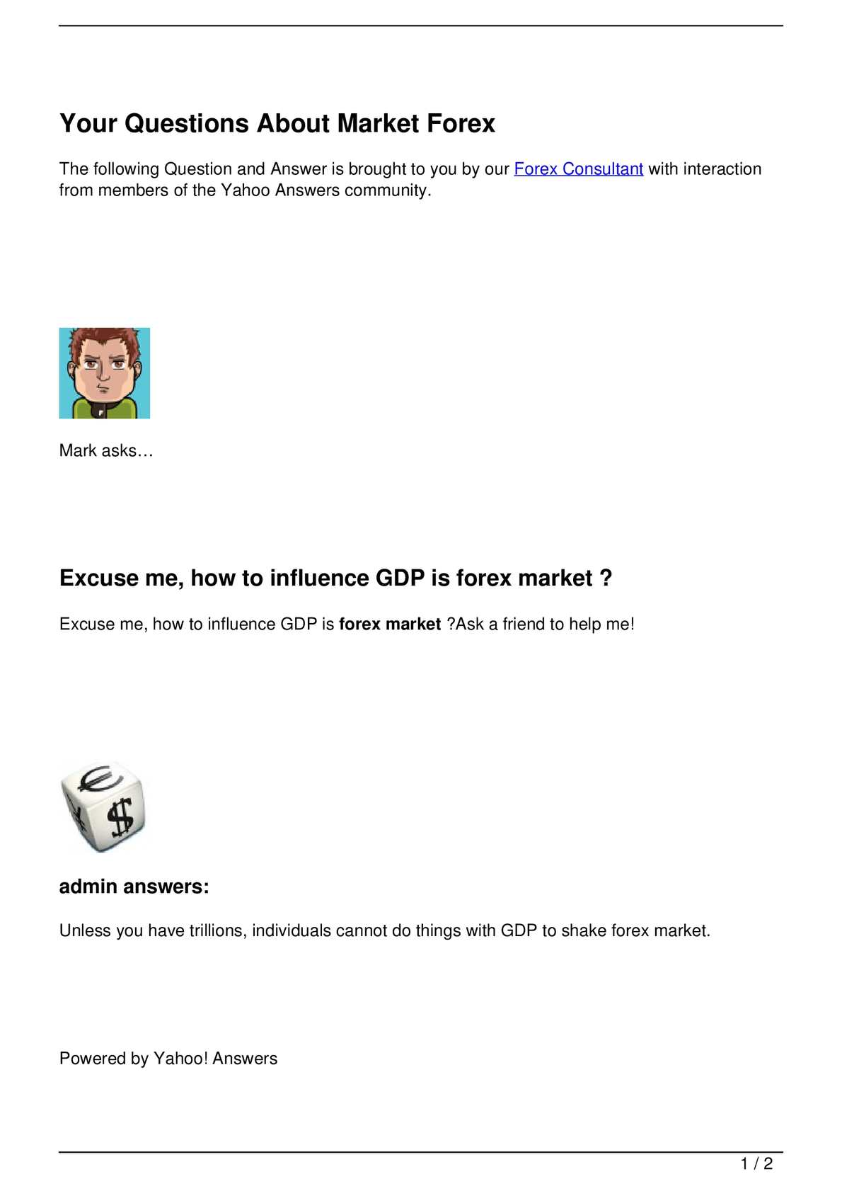 forex yahoo market)