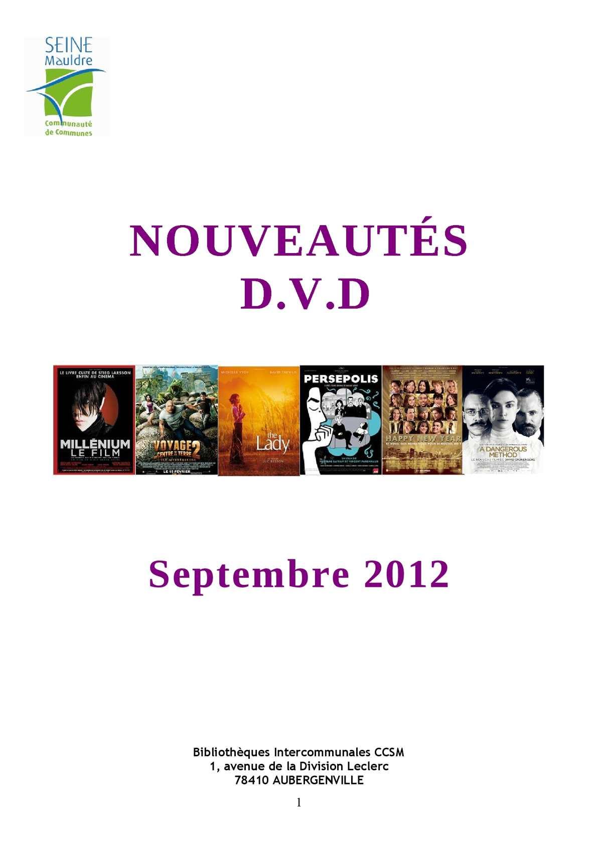 Calameo Nouveautes Dvd Septembre 2012